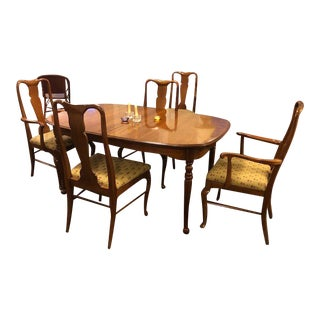 Solid Wild Black Cherry Queen Ann Dining Room Set For Sale
