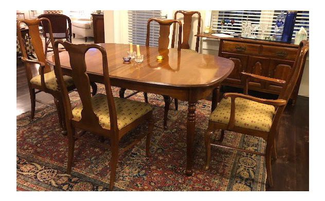 Solid Wild Black Cherry Queen Ann Dining Room Set