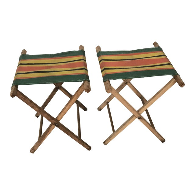 Vintage Striped Folding Canvas Camp Stools - A Pair For Sale