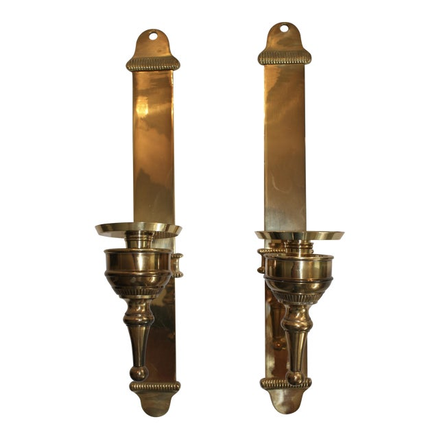 Brass Candle Sconces - Pair For Sale