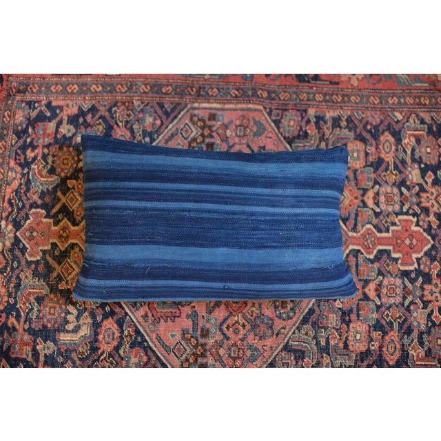 Dark Blue Striped Indigo Lumbar Pillow - Image 2 of 6