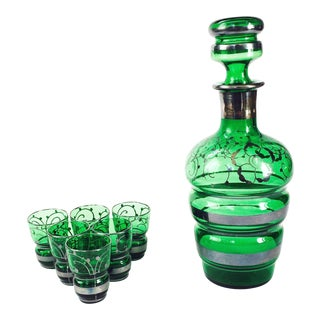 Vintage Emerald Green Glass Decanter Set For Sale