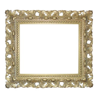 Vintage Italian Gilt Wood & Gesso Rococo Style Picture Frame For Sale