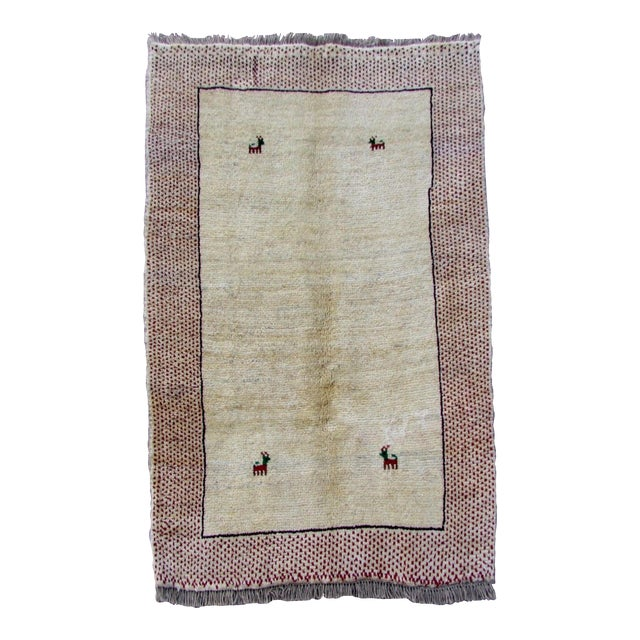 1970s, Handmade Vintage Persian Gabbeh Rug 3.5' X 4.11' For Sale