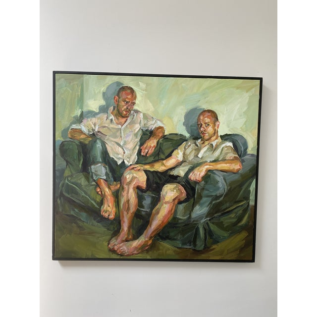 "Contemporary Oil Painting by Paul Wright, ""Double Self Portrait"" For Sale - Image 9 of 9"