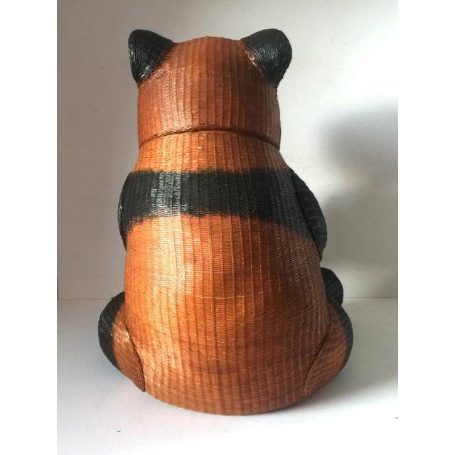 Panda Wicker Cookie Jar For Sale - Image 7 of 9