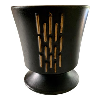 Vintage 1950's McCoy Art Deco Style Black and Gold Planter For Sale