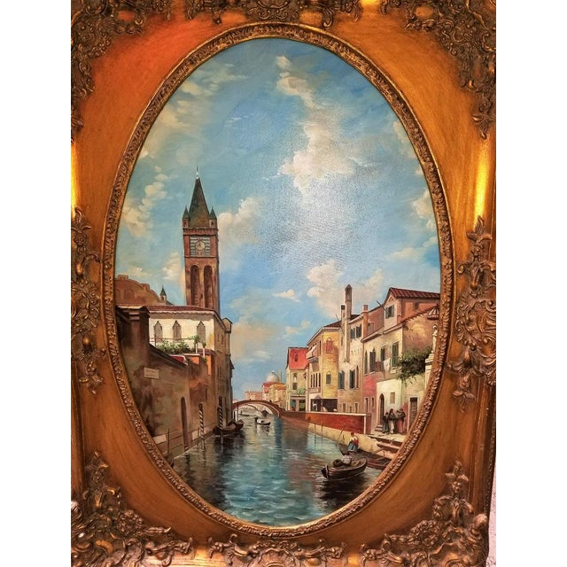 Oil on Canvas of Venetian Scene in Ornate Giltwood Frame For Sale In Dallas - Image 6 of 12