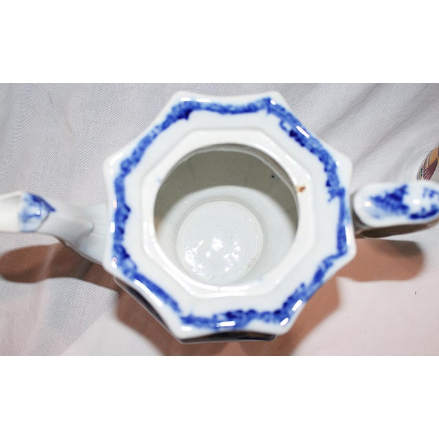 Ceramic English Staffordshire Flow-Blue Teapot For Sale - Image 7 of 7