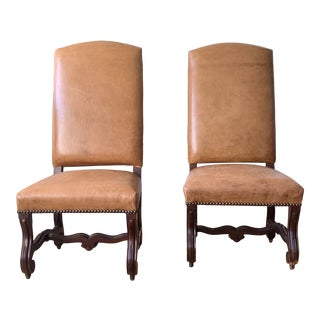 Modern Ralph Lauren Walnut Leather High Back Accent Chairs - a Pair For Sale