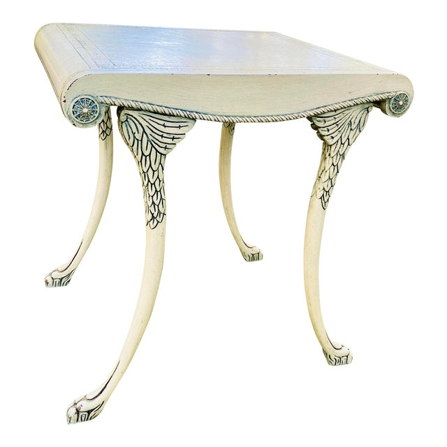 English Scroll Table With Faux Painted Detail For Sale