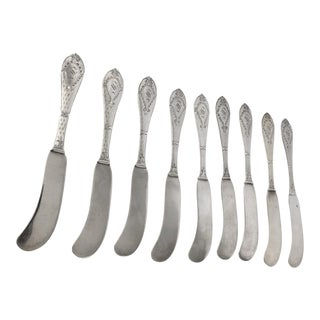 Sterling Silver Butter Knives by Watson Virginia Monogrammed - Set of 9 For Sale