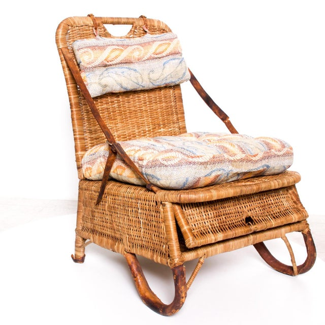 Mid Century Modern Rattan Leather Sculptural Portable Traveling Chair For Sale - Image 9 of 11