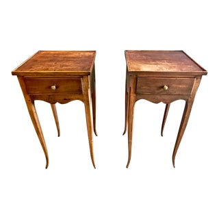 19th Century Vintage French Louis XV-Style Walnut Stands- A Pair For Sale