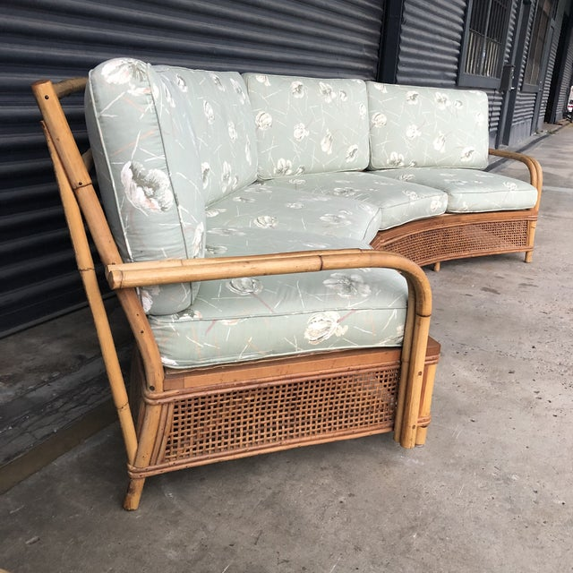 Mid 20th Century Vintage Ficks Reed Rattan Sectional Sofa Set For Sale - Image 5 of 13