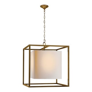 Modern Square Brass Chandelier With Linen Shade For Sale