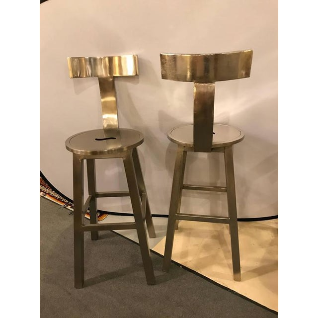 1990s A Pair of Deco Style Steel Bar Stool For Sale - Image 5 of 12