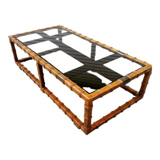 1970s Chinoiserie Bamboo Faux Large Coffee Table For Sale
