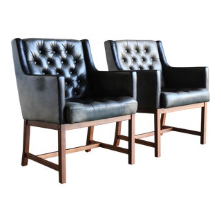 1960 Karl Erik Ekselius for Joc Tufted Leather Chairs - a Pair For Sale