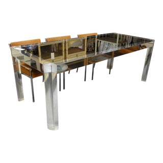 Mid-Century Lucite & Stainless Dining Table