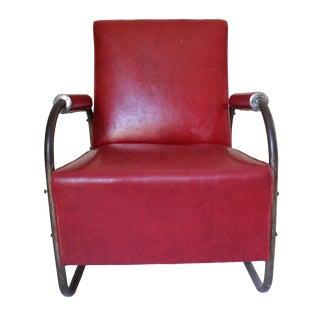 Art Deco Vinyl & Chrome Club Chair For Sale