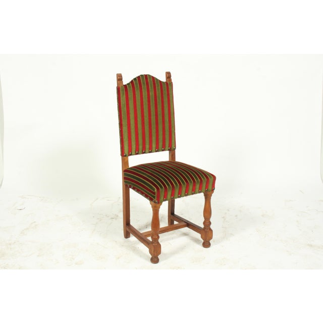 1930\'s Tuscan-Style Striped Dining Chairs, S/2