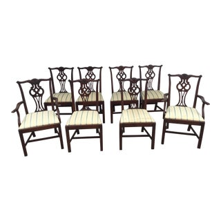 Hickory Chair Co. Mahogany Chippendale Style Dining Chairs - Set of 8