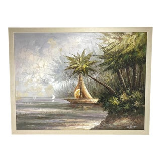 1970s Large Original Acrylic on Canvas Painting of a Sail Boat Leaving the Shore For Sale
