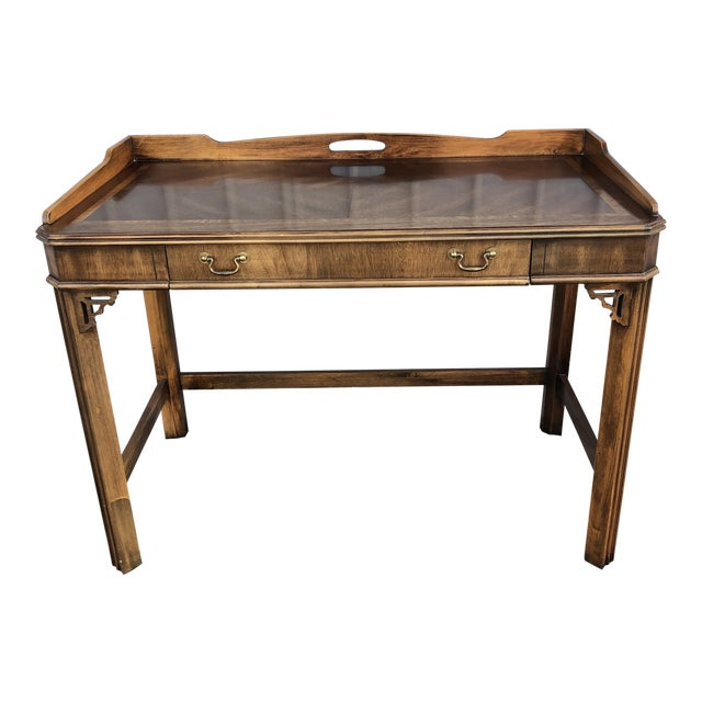 1970s Chippendale Lane Mahogany Writing Desk For Sale