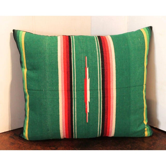This is quite the colors of Mexico in this wonderful handwoven serape pillow. The backing is in a black linen. The insert...