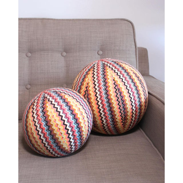 """Newly made from iconic vintage Missoni fabric, this 9"""" ball pillow is perfectly stuffed with all new material. A..."""