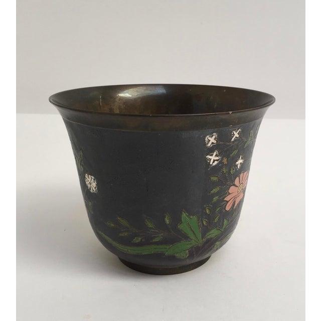 Black Asian Cloissone Enamel Vessel With Floral Design For Sale - Image 8 of 10