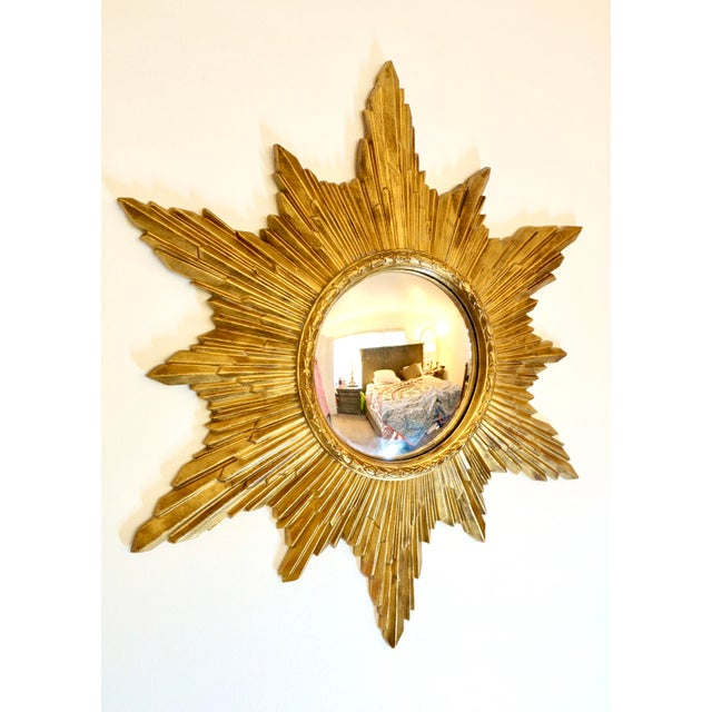 Resin Vintage Gold Resin Frame Sunburst Convex Mirror For Sale - Image 7 of 8