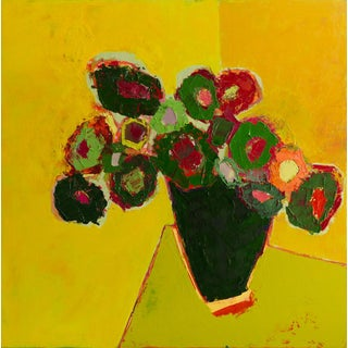 """Bill Tansey ' Green Bouquet """" Abstract Floral Oil on Canvas For Sale"""