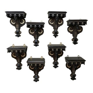 Set of 8 19th Century Napoleon III Period French Painted Wall Sconces For Sale