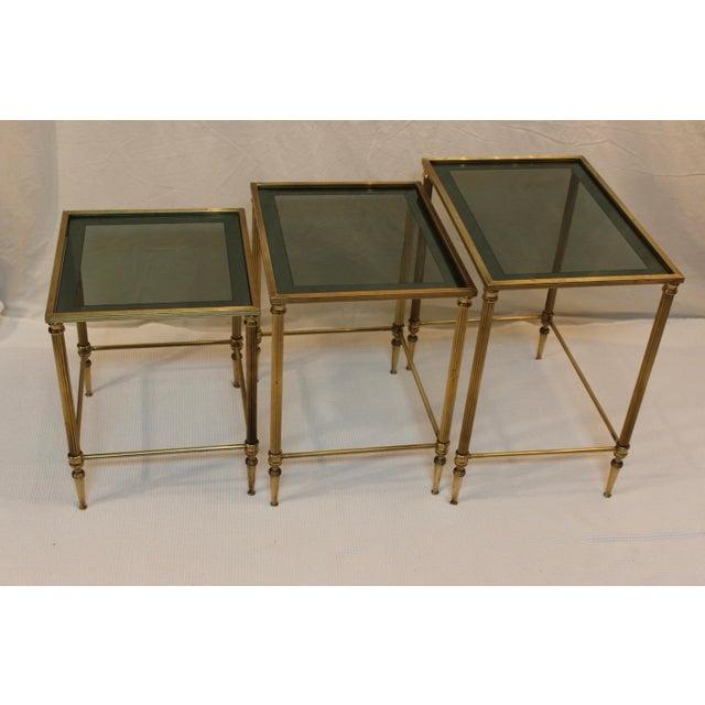 Hollywood Regency 1950's Modern Italian Brass Nesting Tables - Pair For Sale - Image 3 of 10