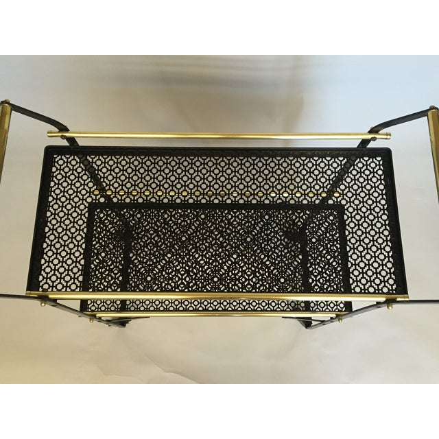 Smart French Black Metal and Brass Bar Cart - Image 3 of 4