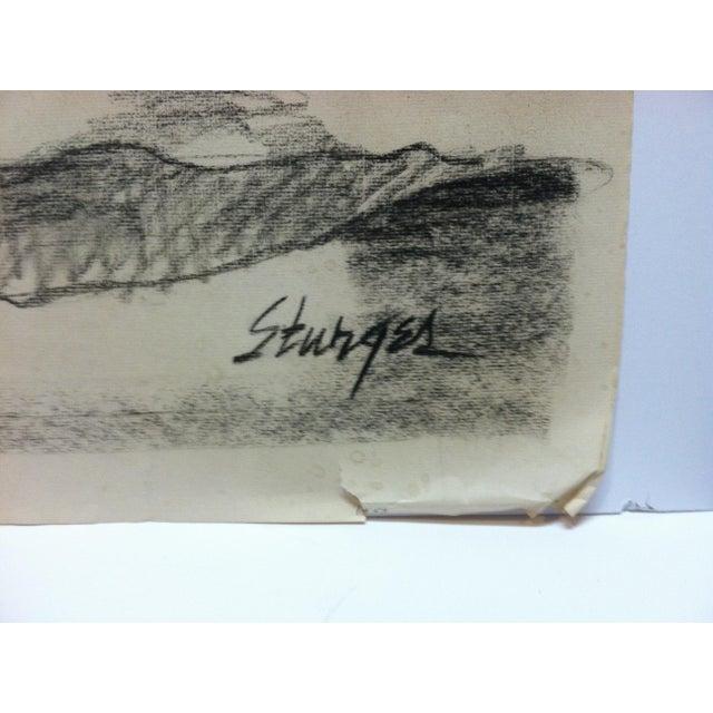 1953 Vintage Fully Nude Rear Tom Sturges Jr. Drawing