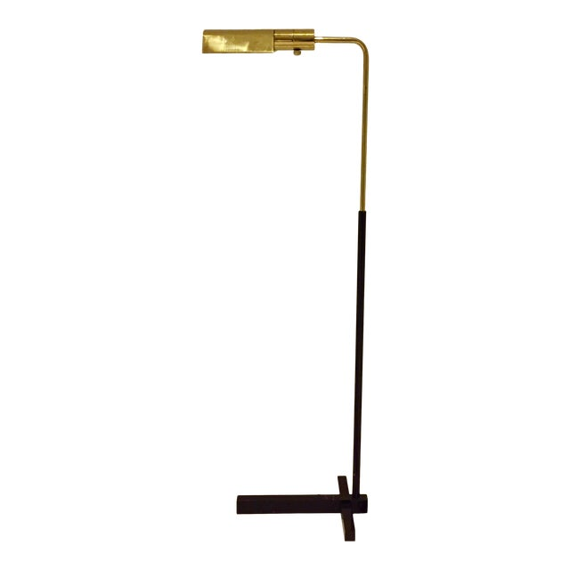 Casella Brass and Black Mid-Century Floor Lamp For Sale