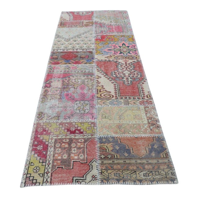 Tribal Floor Patchwork Runner Rug - 2′11″ × 9′4″ For Sale