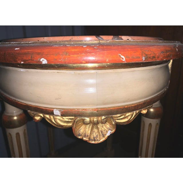 Late 19th Century Late 19th Century Antique Louis XVI Style Parcel Gilt Marble Table For Sale - Image 5 of 7