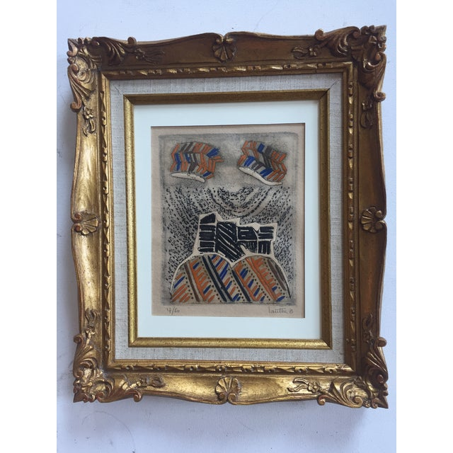 Great original pencil Signed & numbered print 6 x 7.5 overall size with vintage French carved frame is 12 x 14