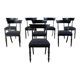 Set of Eight English Regency Style Ebonized Dining Chairs For Sale
