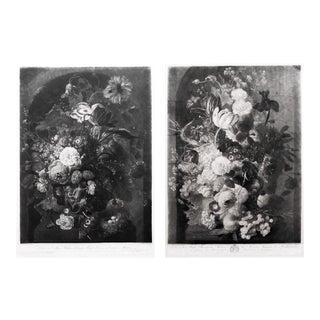 Pair of Still-Life Mezzotint Prints by Johann Pichler After Jan Van Huysum Circa 1806 For Sale