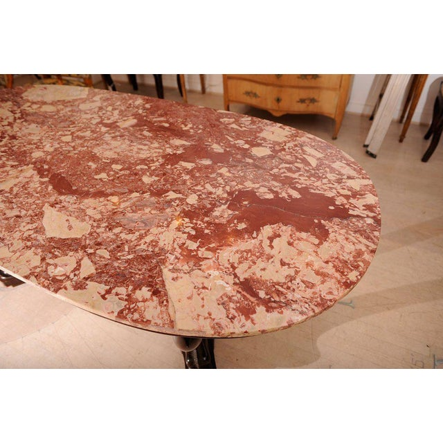 Italian Dolphin Oval Table With Rose Marble Top For Sale - Image 4 of 11