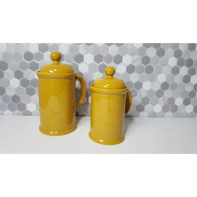 1970s Vintage Peasant Village Canister With Lid and Handle Ceramic Canister Jars - a Pair For Sale - Image 12 of 12