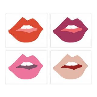 Kiss Me II Set of 4 by Angela Chrusciaki Blehm in White Frame, Large Art Print For Sale