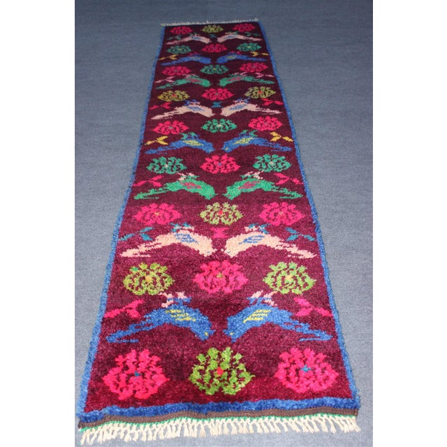 Vintage Turkish Bird Motif Tulu Rug - 2′8″ × 11′6″ - Image 2 of 11