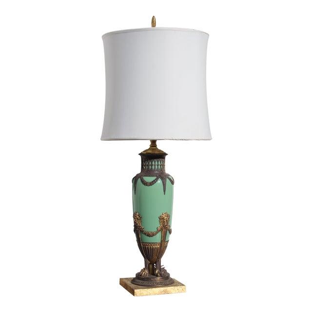 Mid 19th Century Green English Gilt Bronze Lamp For Sale