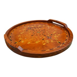 Handmade Moroccan Wood Tray W/ Inlay For Sale